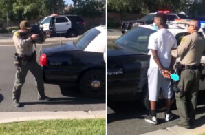 Sheriff's deputies point firearms at Black youngsters who were casualties of a crime